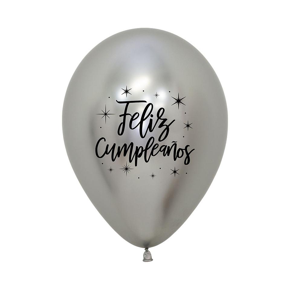 Globo R-12 feliz cumpleaños radiante reflex plata x 12 unidades