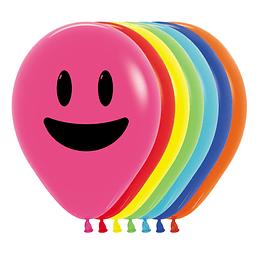Globo R-12 carita sonriente Fashion surtido x 12 unidades