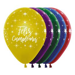 Globo R-12 Infinity Feliz Cumpleaños Radiante Efecto Cristal Surtido