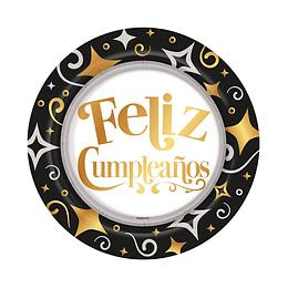 Plato 7'' Metal Felíz Cumpleaños Dorado/negro x 8 unidades