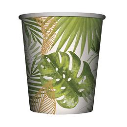 Vaso 9oz hojas tropicales x 8 unidades