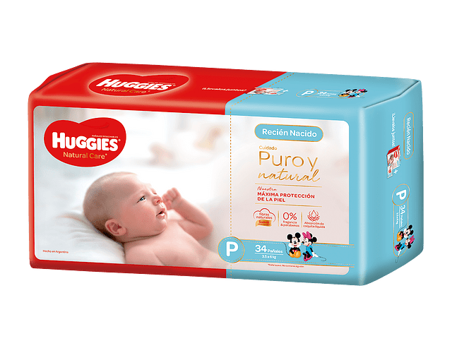 Pañal Huggies Natural Care talla P  34 un