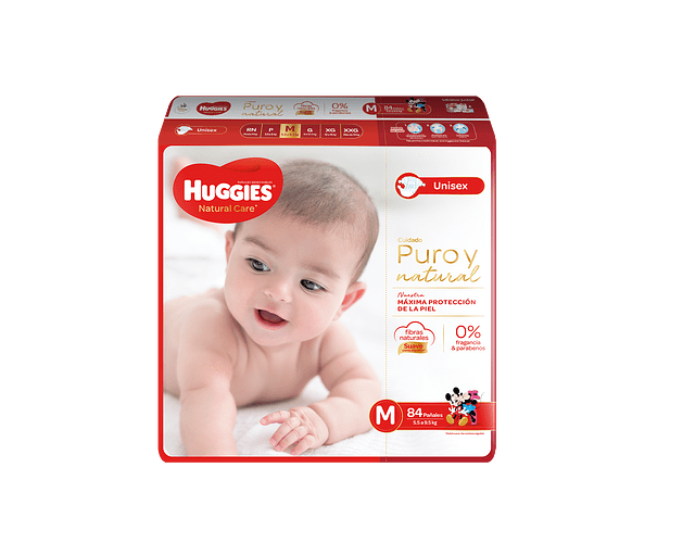 Pañal Huggies Natural Care talla M  84 un