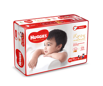 Pañal Huggies Natural Care talla XG  56 un