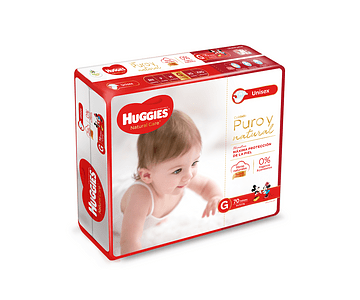 Pañal Huggies Natural Care talla G  70 un