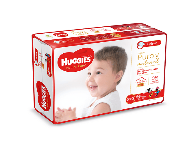 Pañal Huggies Natural Care talla XXG  56 un