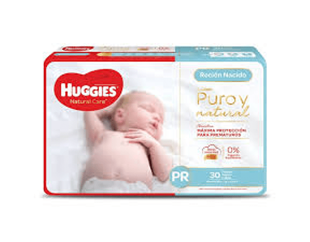 Pañal Huggies Natural Care talla prematuro  30 un
