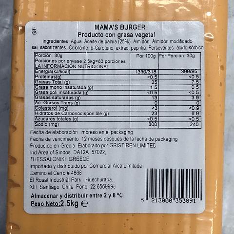 Mama's Burger- Barra 2,5kgs Queso Vegetal
