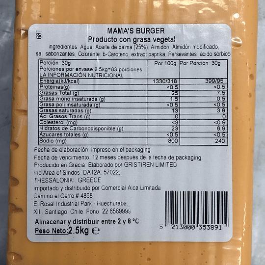 Mama's Burger (Tipo Cheddar) - Barra 2,5kgs Queso Vegetal