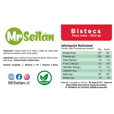 Mr. Seitan 500g - Bistecs