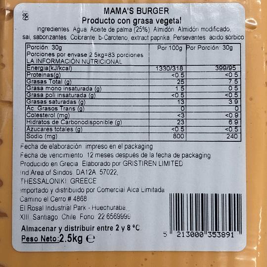 1 caja de 12,5kgs Queso Vegetal Mama's Burger (Tipo Cheddar)