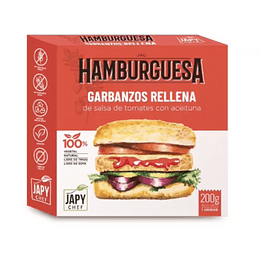 Hamburguesa de Garbanzos rellena con Salsa de Tomate y Aceitunas - Japy Chef