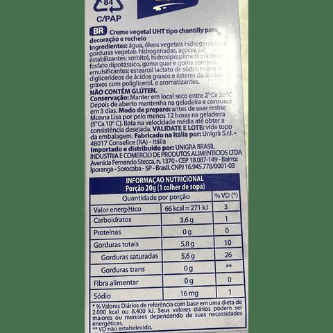 Crema Vegetal tipo Chantilly 1 Litro - Monna Lisa