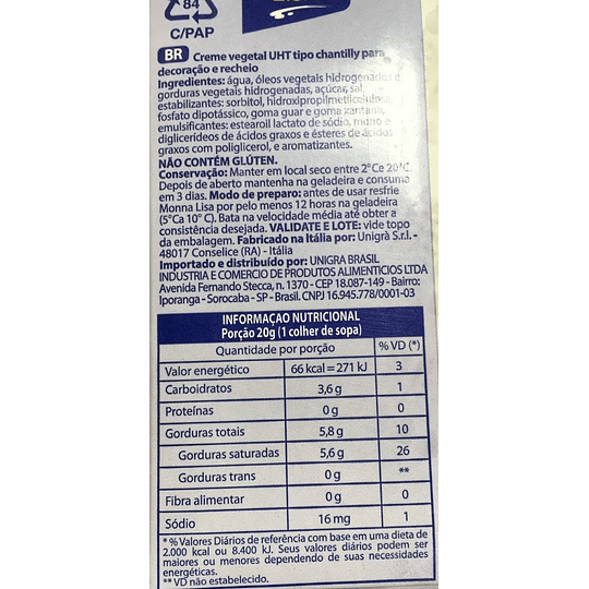 Crema Monna Lisa 1 Litro (crema vegetal tipo chantilly)