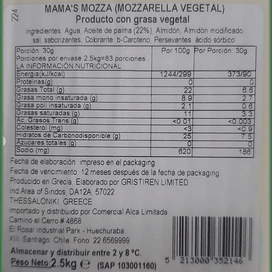 Queso Vegetal tipo Mozzarella 2,5kgs - Mama's Mozza
