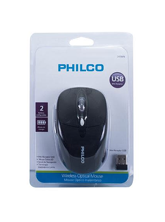 Mouse Optico Inalambrico 2.4G PHILCO NEGRO