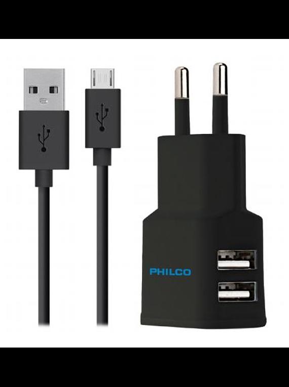 CARG. de pared 2.1 a Doble USB C/cable Micro R2107 Negro