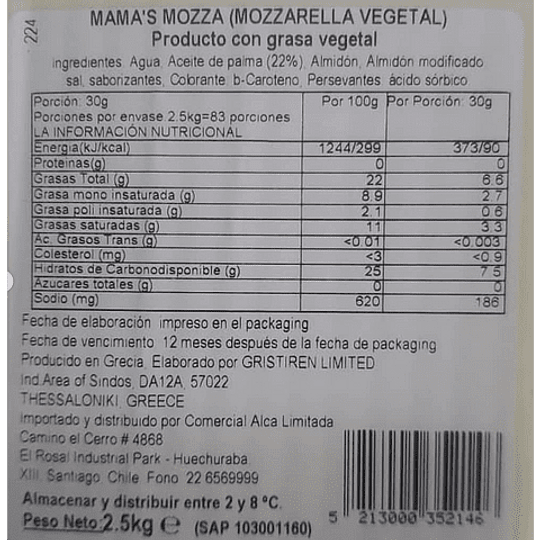 Queso Vegetal Mama's Mozza