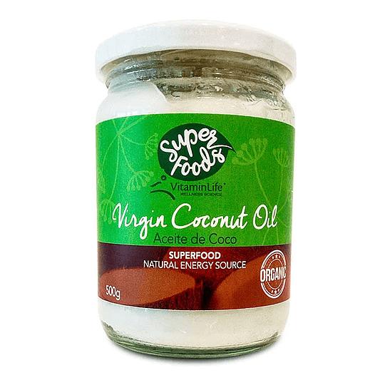 Aceite de Coco Virgen y Orgánico, 500g - Super Foods