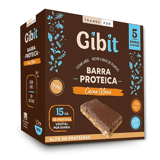 Barras Protéica de Cacao Maní, Gibit - Caja 5 unidades