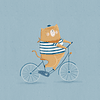 Lámina Gatito en Bici, Línea Tres Amigos