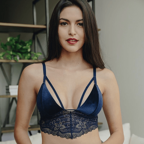 Bralette Velvet Azul