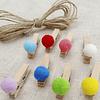 Pinzas de madera con pompones de colores