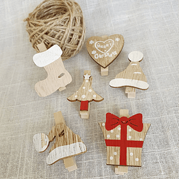 Pack pinzas de madera y yute natural - Mix Navidad
