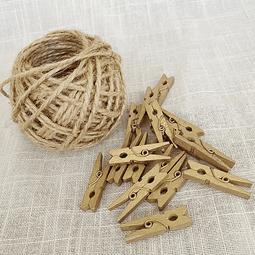 Pack pinzas de madera doradas y yute natural