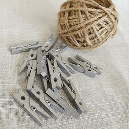 Pack pinzas de madera plateadas y yute natural