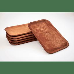 Set de 6 platos rectangulares de madera de Raulí