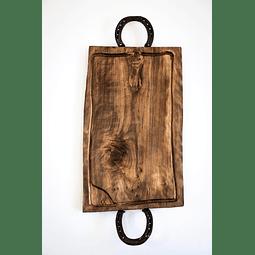 Tabla grande para asados de madera nativa con 2 Herraduras