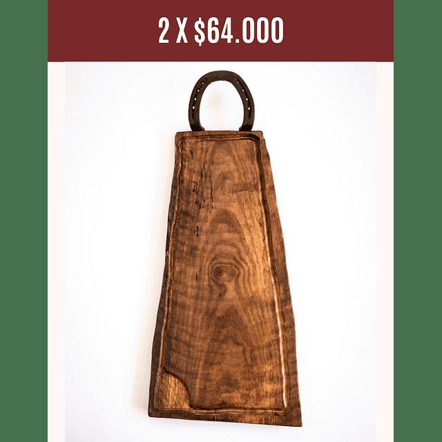 Tabla de asados de madera nativa de 1  herradura