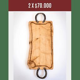 Tabla para asado de madera nativa con 2 Herraduras