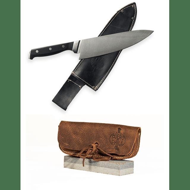 Cuchillo Acero Inoxidable Liso + Piedra Afiladora