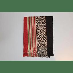 Manta de Algodón Huitrú, mapuche chocolate 1,30 x 1,40 mts