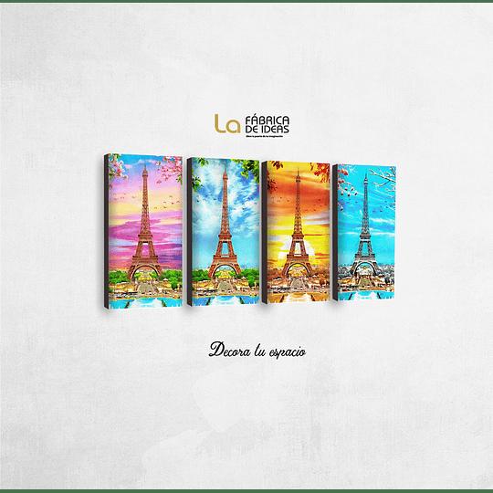 Cuadro Paris 4 piezas 26 x 50