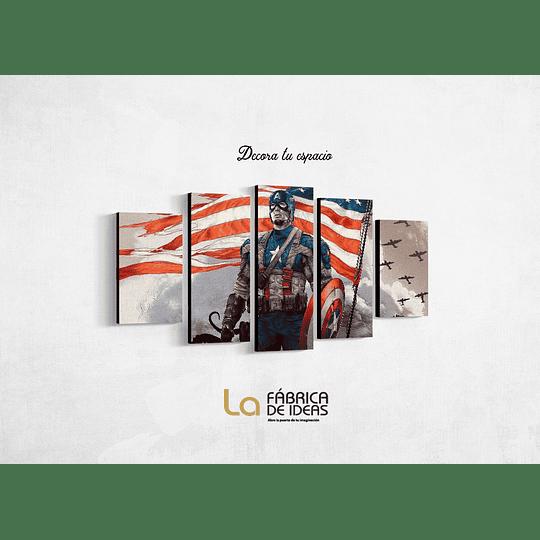 Cuadro Capitan America Bandera USA Tamaño 110 x 59