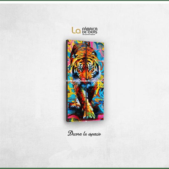 Cuadro Tigre de colores tamaño 1 metro de alto x 50 de ancho