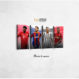 Cuadro Jugadores de Futbol Set de 4 26 x 50