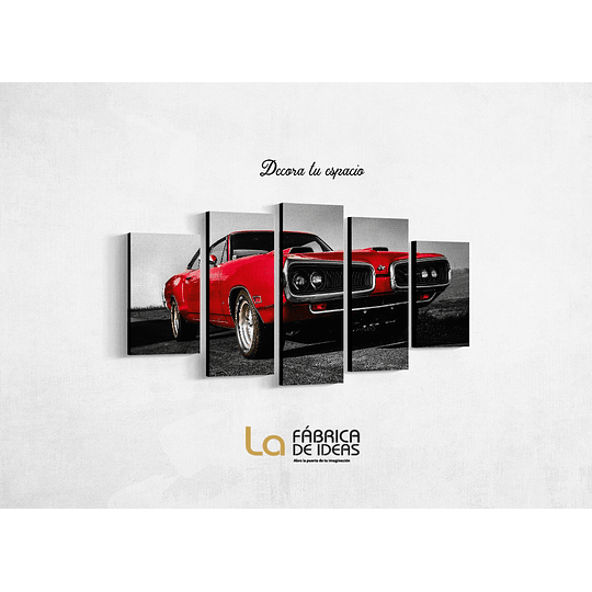 Cuadro Auto Rojo Antiguo Tamaño 1 metro 10 cm de ancho x 59 de alto