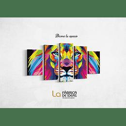 Cuadro Leon de Colores Tamaño 1 metro 10 de ancho x 59 de alto