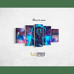 Cuadro animales  Leon Galaxia Tamaño 1 metro 10 de ancho x 70 de alto