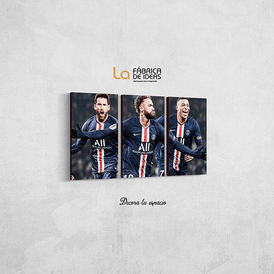 Cuadro  Messi  , Neymar  y Mbappe tamaño 80 de ancho x 50 de alto