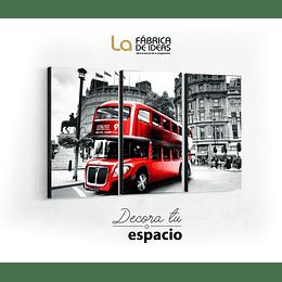 Cuadro 3 piezas bus Londres