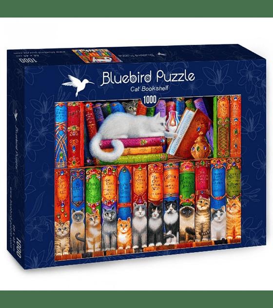 Puzzle 1000 Pcs - Cat Bookshelf Bluebird