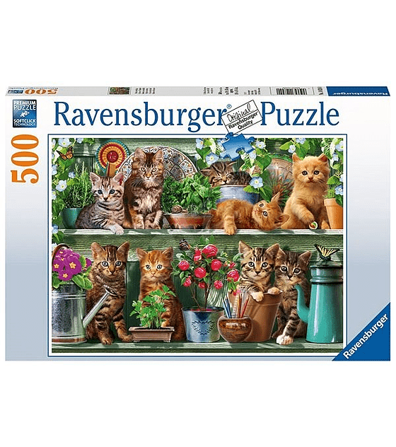 Puzzle 500 Pcs - Gatitos en el Estante Ravensburger