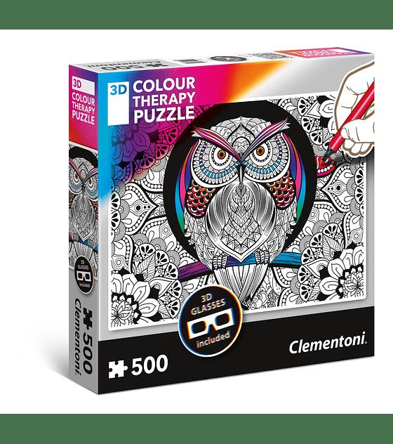 Puzzle 3DCT 500 Pcs - Owl Clementoni