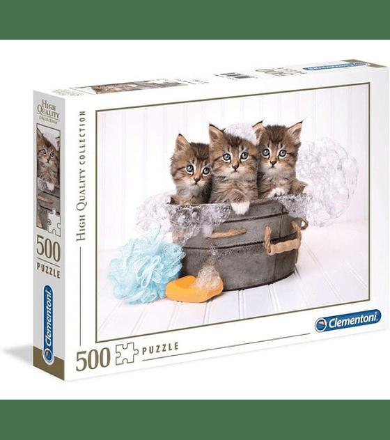 Puzzle 500 Pcs - Kittens and Soap Clementoni