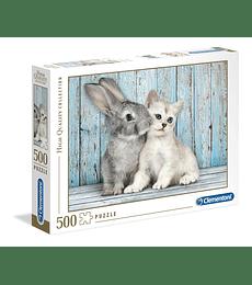 Puzzle 500 Pcs - Cat And Bunny Clementoni